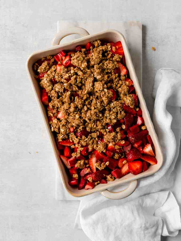 raw strawberry rhubarb crisp with topping