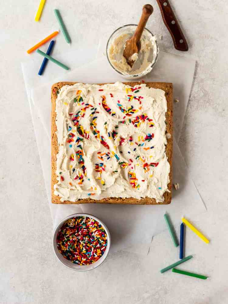 brown butter funfetti blondie with candles