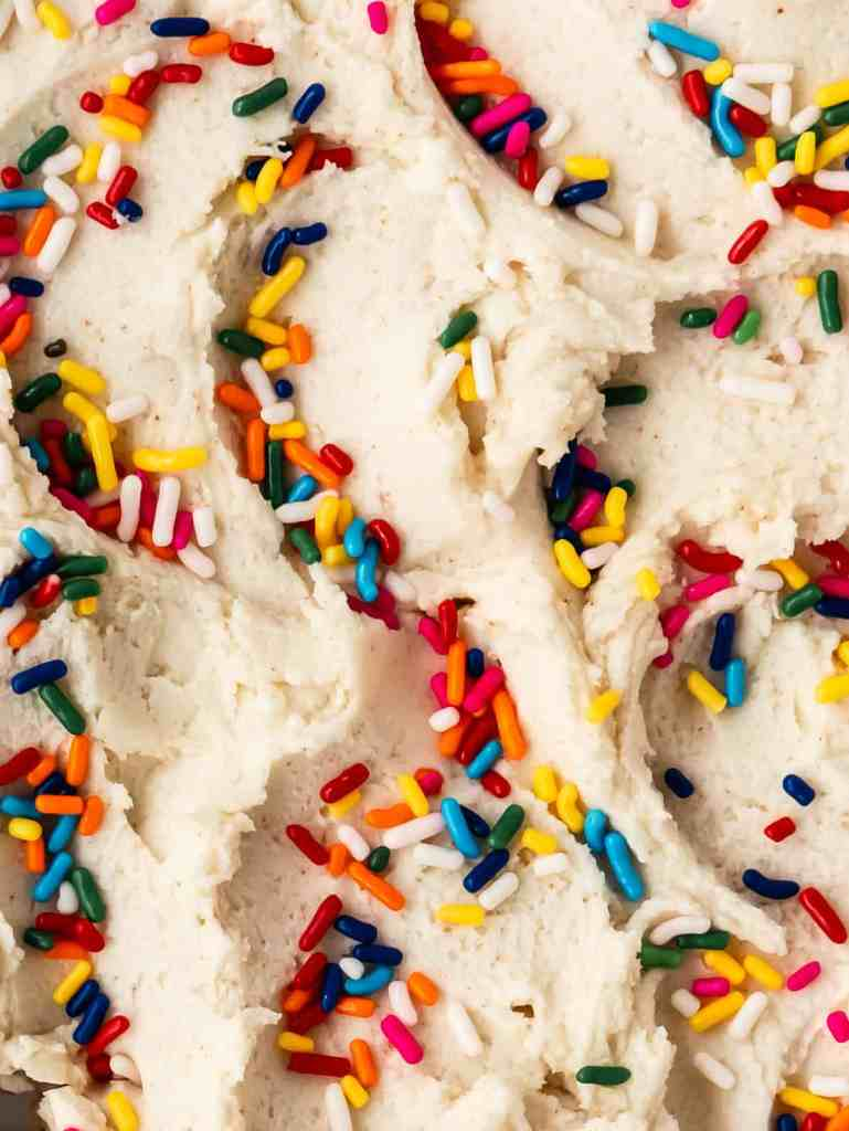 close up shot of buttercream with sprinkles