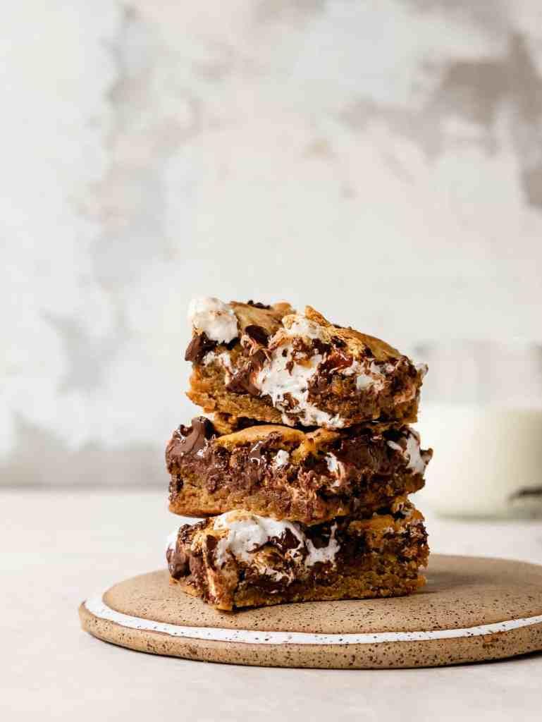 stack of s'more tahini cookie bars