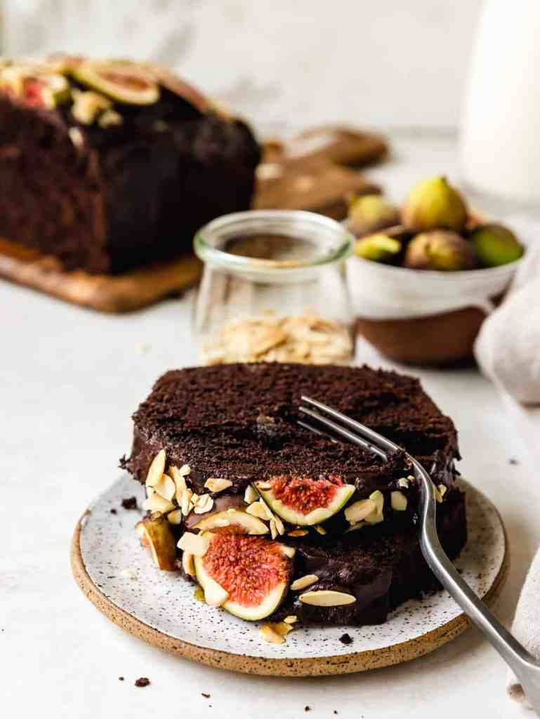 a perfectly moist chocolate loaf cake, studded with fresh figs. topped with a smooth chocolate ganache, figs and almonds.