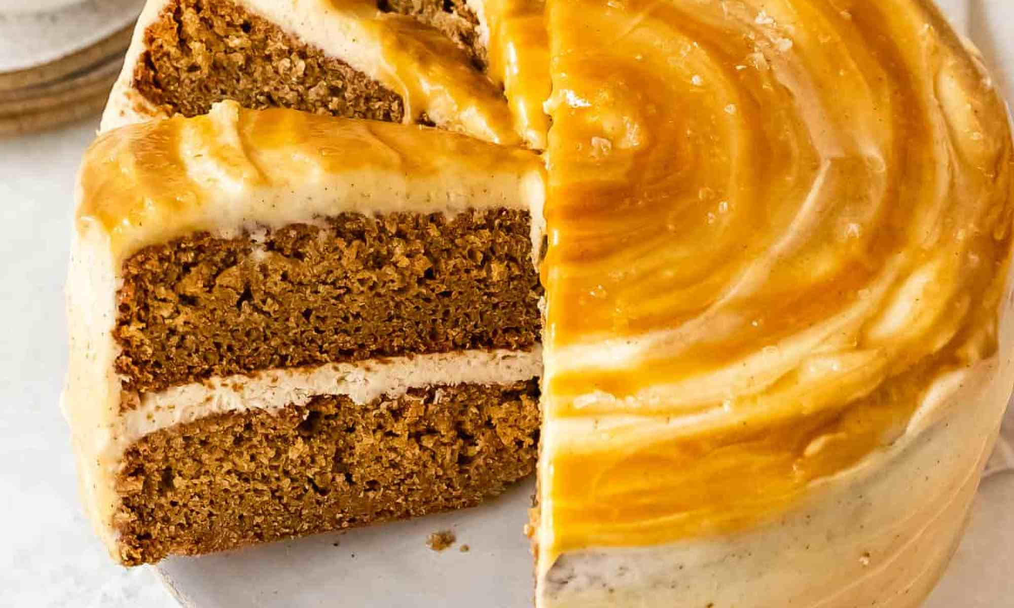 caramelized apple spice cake with salted maple caramel