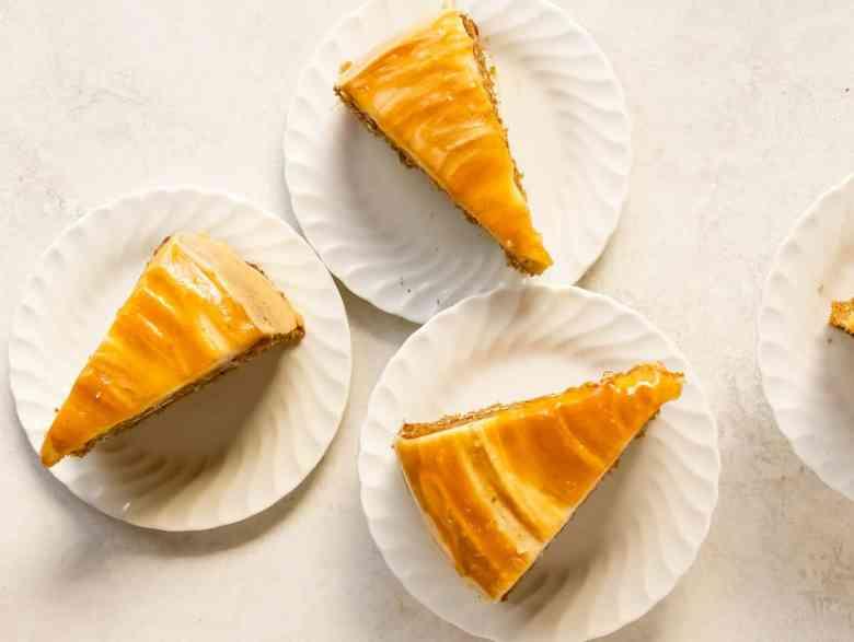 slices of caramelized apple spice cake