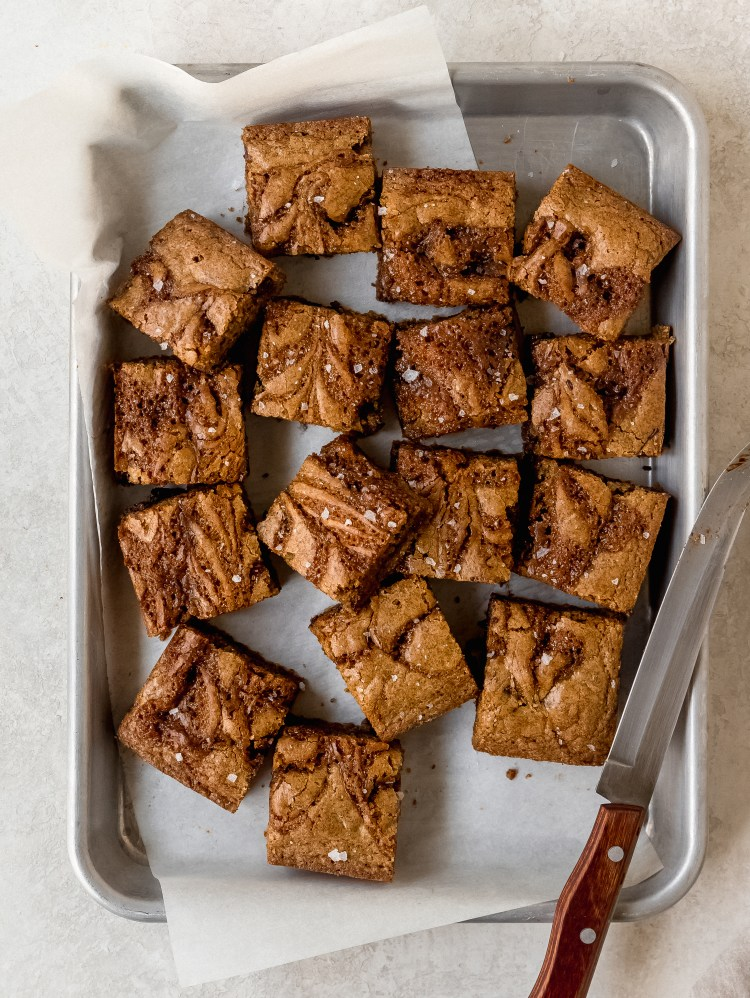 salted caramel rye blondies