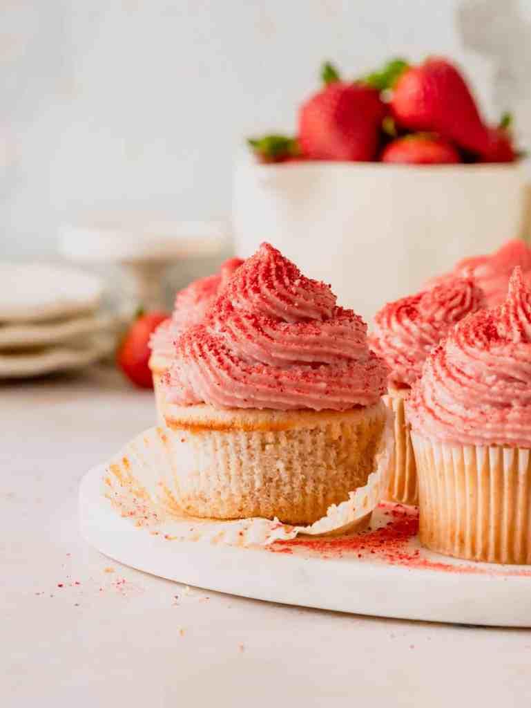 small batch strawberry cupcakes