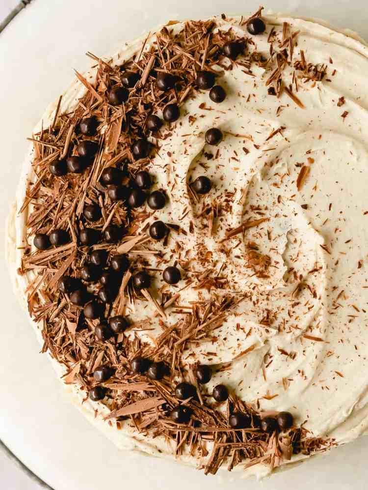 small chocolate tahini buttercream cake