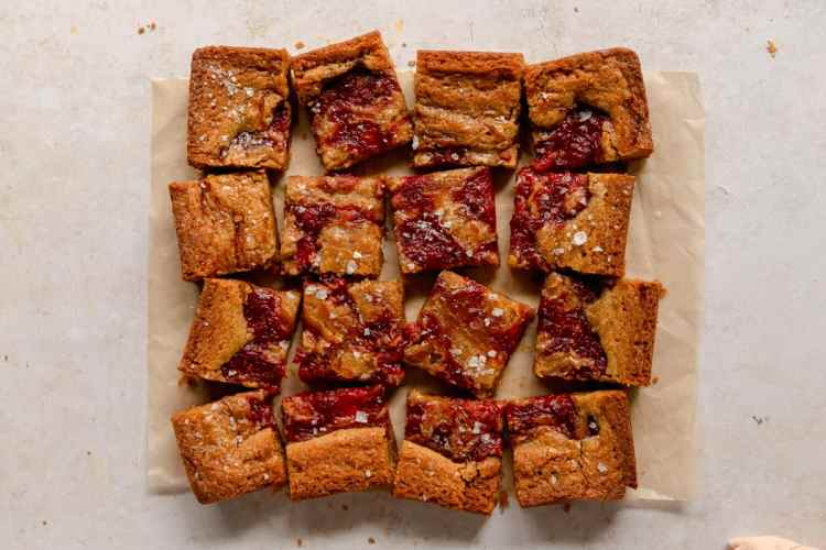 roasted strawberry jam blondies