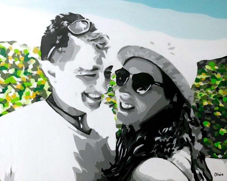 """""""Libertad y amor, la mejor receta para alcanzar la felicidad"""" Retrato realizado por encargo. Acrílico sobre lienzo 40x50cm VENDIDO"""