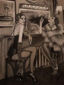 """""""Cabaret"""" Lápiz sobre papel gris A3"""