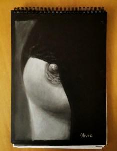 """""""Lencería Covid"""" pastel sobre lámina negra 21x29,5cm"""