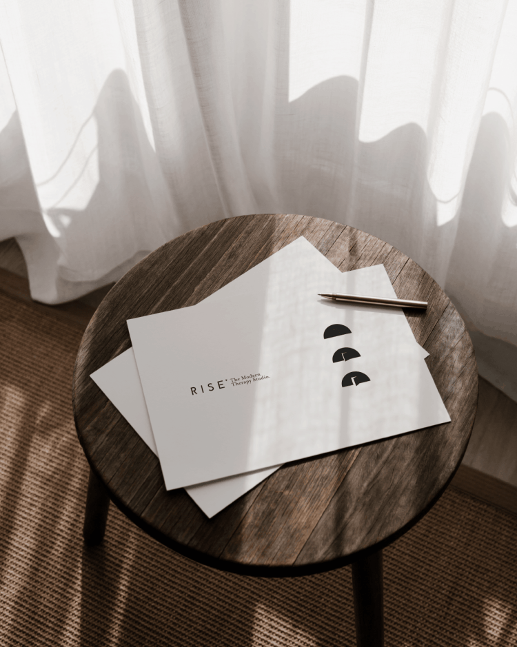 Printed Visual of the Rise Brand Identity for the Modern Therapy studio