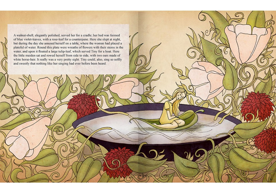 Thumbelina children's book page - Picture book
