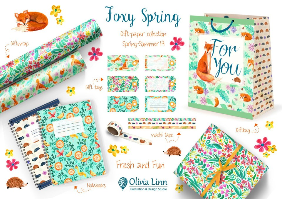 Greetings collection, pattern and print design by Olivia Linn