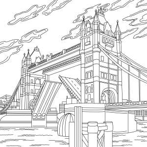 Coloring page, landmark, Tower bridge, illustration by Olivia Linn
