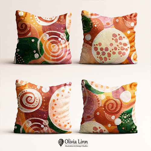 abstract pattern on pillows, digital textile print, design by Olivia Linn