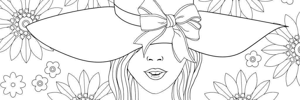 adult coloring page fashion, banner
