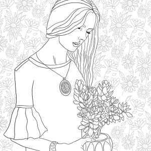 girls, coloring page, olivia linn, drawing