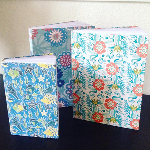 Handbound journals, greetings, design by Olivia Linn