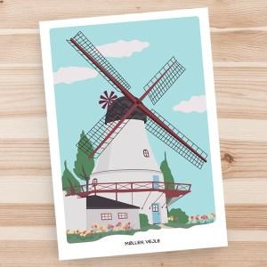 Vejle møllen, city cards, Denmark, greeting card, art print by Olivia Linn