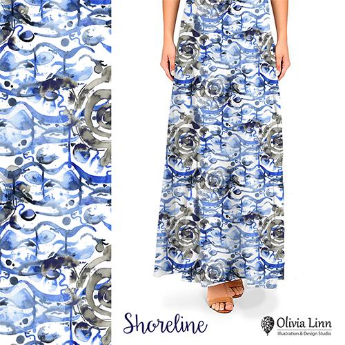 shoreline design, textile repeat, design by Olivia Linn