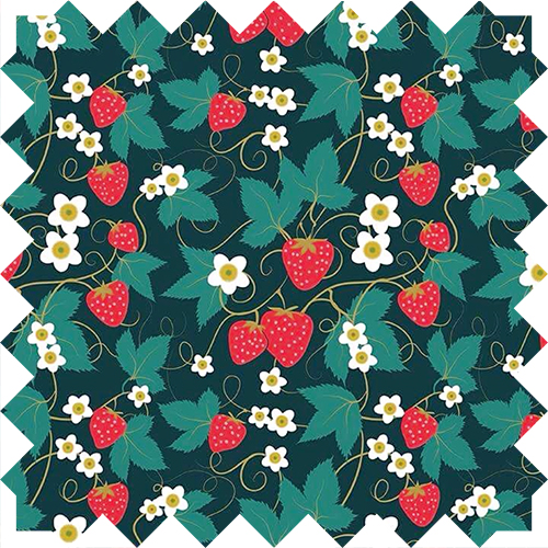 strawberry pattern textile design by Olivia Linn