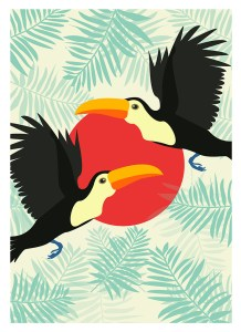 toucan print, animal, textile, design by Olivia Linn