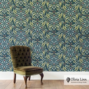 Wallpaper, Vintage, decor, pattern, by Olivia Linn