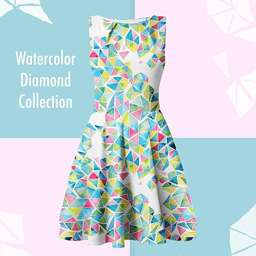 watercolor geometric pattern on dress, design by Olivia Linn