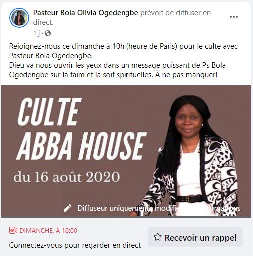Culte Abba House Facebook