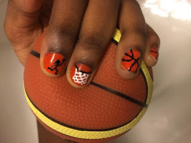 Basketball nails extravaganza giveaway olivias catastrophe orange is one of my favourite colours so i had no issue there it was a bit tricky to make the hoop actually hoop like but i think it went okay prinsesfo Choice Image
