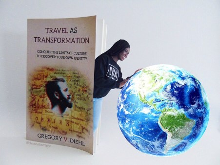 travel as transformation bookstagram photo manipulation girl rolling earth