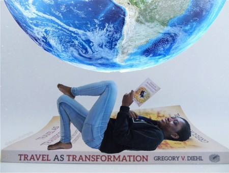 travel as transformation bookstagram photo manipulation reading mini me
