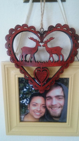 I love this stag ornament and I can't wait to put it on my first full-sized tree when I have a larger place. I hung it over an old photo of my boyfriend and I that I have by my front door.