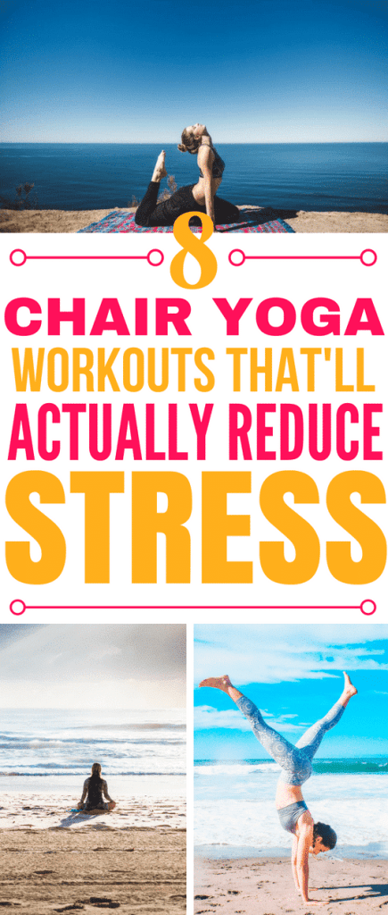These 8 chair yoga routines are THE BEST! I'm so glad I found these AWESOME chair yoga workouts! Now I can get rid of stress and feel healthy! #yoga #chairyoga #yogastressrelief #stressrelief