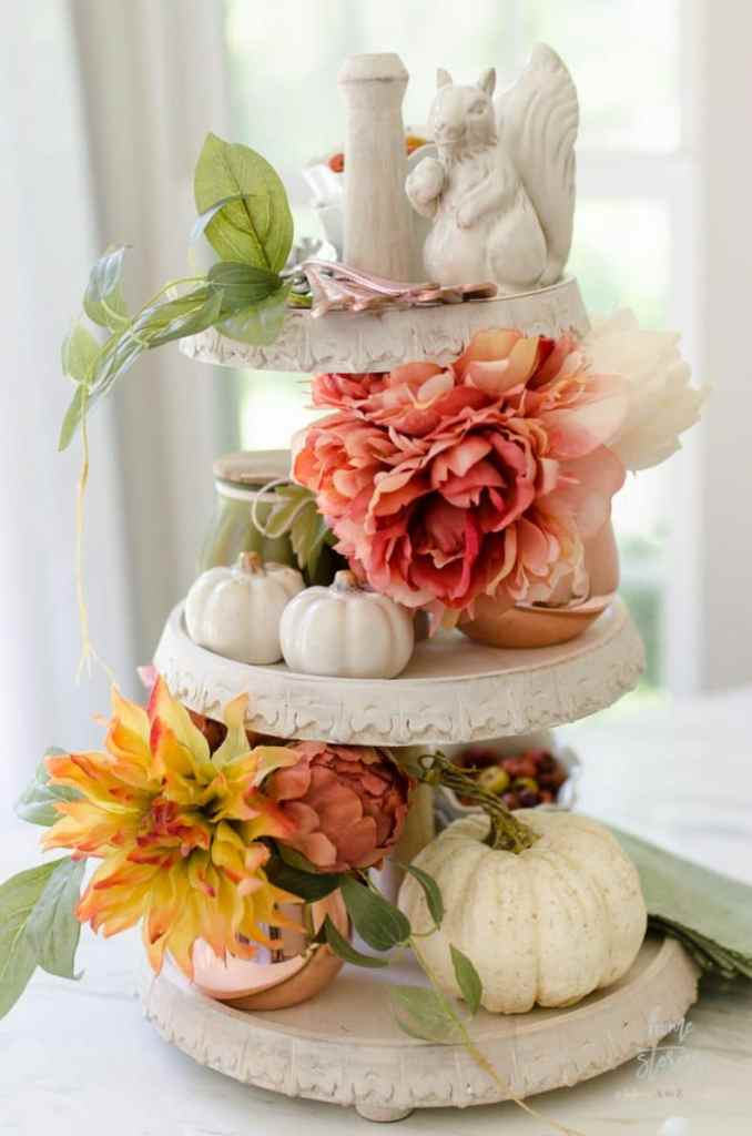 Tiered Tray with Fall Faux Floral Arrangements