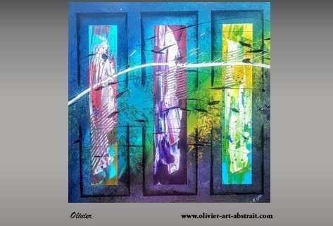 tableau abstrait bleus