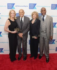 New York:Kerry Kennedy, Harry Belafonte, Pamela Frank and Danny Glover with RFKennedy by Olivier Bernoux clutches.
