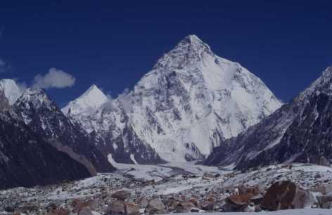 Le K2 depuis l'embranchement du glacier Vigne, le 15 août 1999