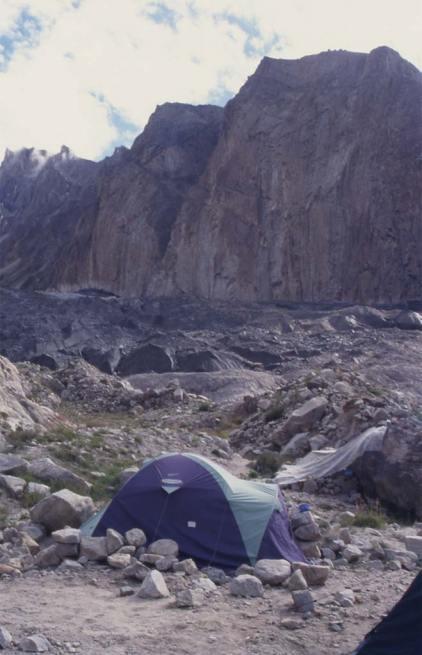Le camp et le glacier de Liligo, le 10 août 1999