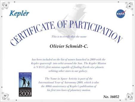 oliviersc mission Kepler