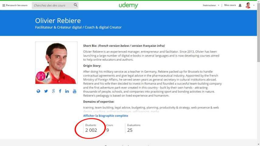 2000 students on Udemy - OlivierRebiere.com
