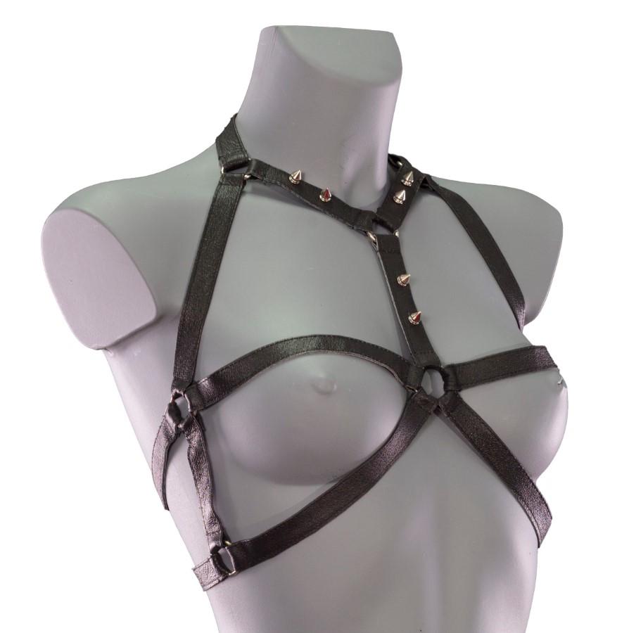 Harness Skelet - black leather, silver details