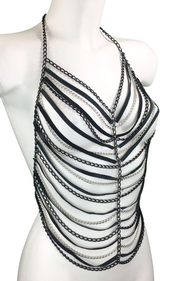 Top Galaxy - black leather, black and silver chain