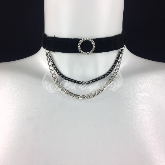 Necklace Mignon - black leather, black and silver chain