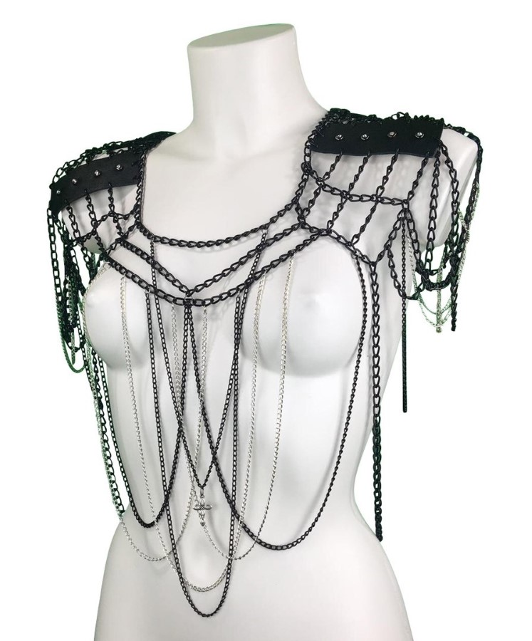 Top Gotique - black leather, black silver chain