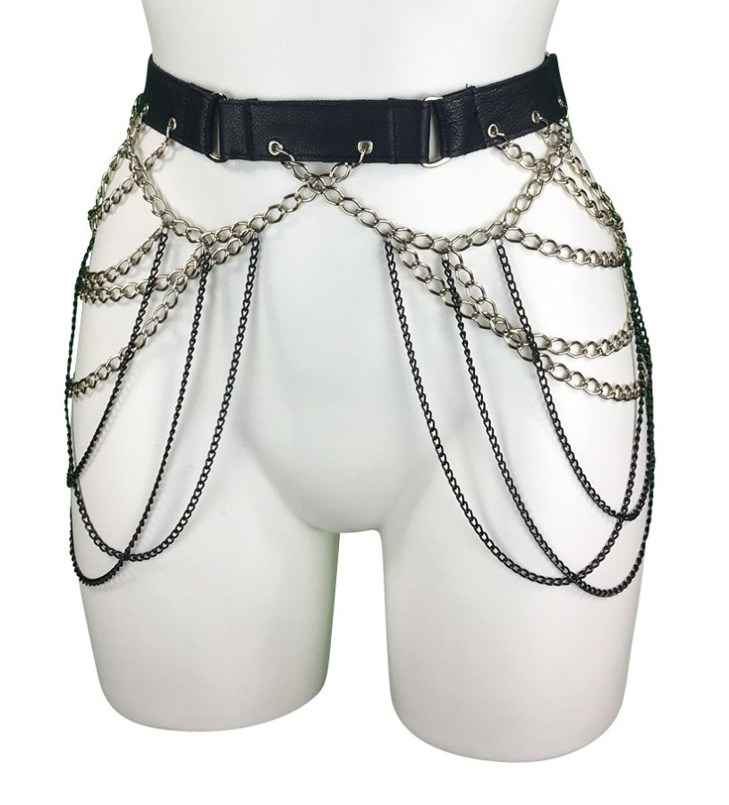 Belt Gotique - black leather, black and silver chain
