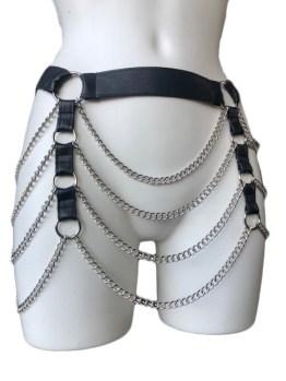 Belt Paradise - black leather, silver chain
