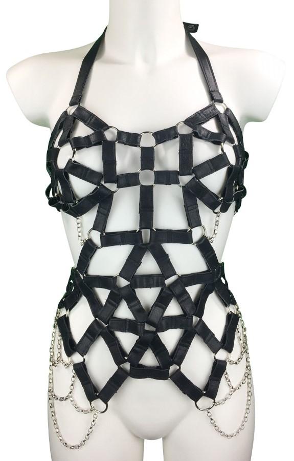 Dress Coachella - black leather, silver chain