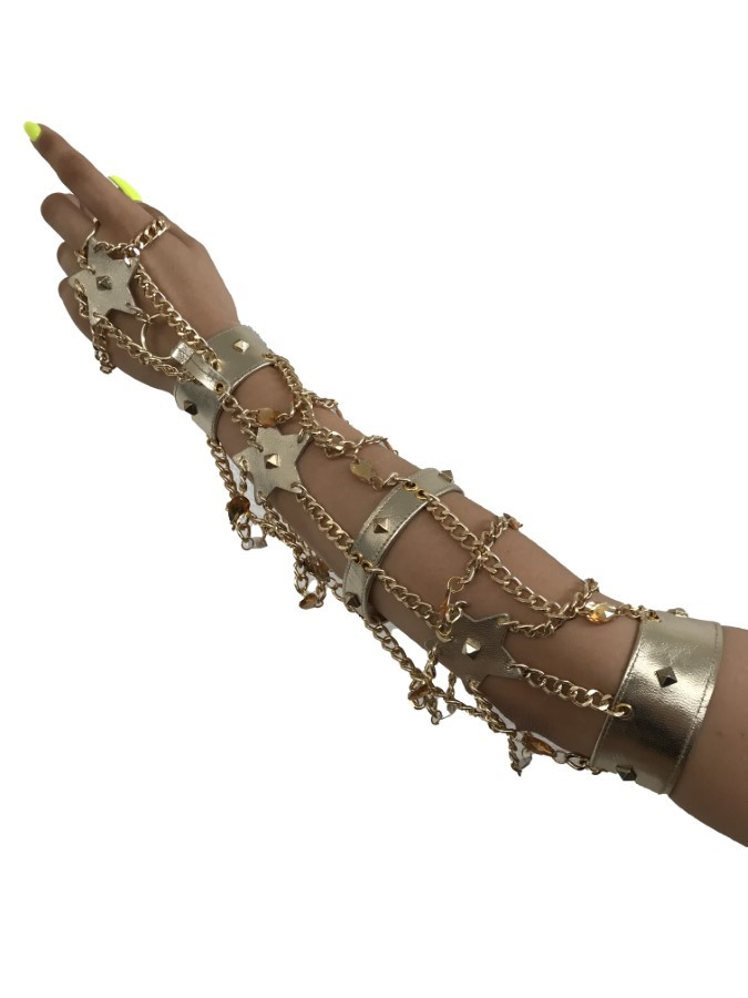 Glowe star - silver leather, gold chain