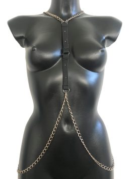Necklace Cool - black leather, silver chain